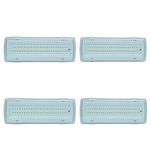 081 Store - 4X Lampada Di Emergenza Con 50 Led Completa Di Incasso E Batteria Luce Bianca 4W [Classe di efficienza energetica A]