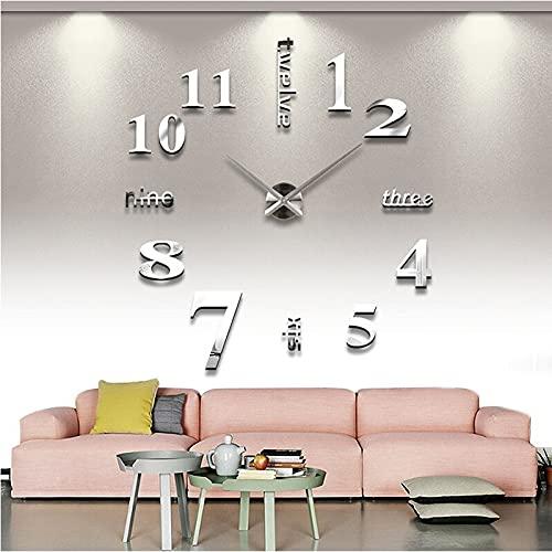 Reloj de cocina Sala 3D DIY Reloj de pared Relojes de pared de cuarzo gigante autoadhesivo espejo pegatinas papel pintado colgante reloj decoración del hogar Mural