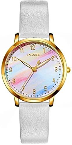 QHG Señoras Reloj Casual Lujo Rainbow Dial Fashion Affleed Leather Correa de Cuero Daily Business Japón Movimiento Reloj de Cuarzo para Mujeres (Band_Color : Gold 1)