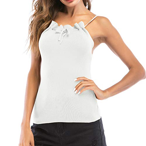 XIANO Damen Freizeit Chiffon V-Ausschnitt Manschetten-Ärmel Locker Shirt Bluse Oberteile Damen Rollkragenpullover Gestrickte ärmellose Gerippte Weste T-Shirt Damen gestrickt ärmelloses T-Shirt