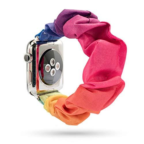 Lecheng Compatible con Apple Watch Band 38 mm 40 mm 42 mm 44 mm,Correa de Repuesto para la Serie iWatch 1/2/3/4/5,Tela Impresa con Hebilla de Metal Inoxidable(38mm T)