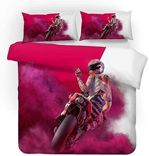 AMCYT Bedding Set 3D Motorrad Bettbezug, Leidenschaft Und Geschwindigkeit, Sport Stil Bettbezug Und Kissenbezug Für Kinder Jungs Mann (2,200 * 200)