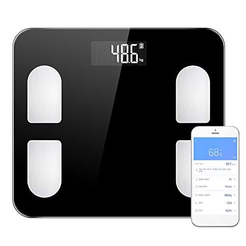 Báscula inteligente de grasa corporal, báscula de pesaje digital BT Analizador corporal que mide peso/edad corporal/IMC/índice de grasa corporal/músculo esquelético/masa ósea