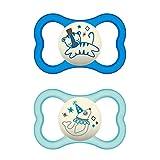 MAM Air Night - Set di 2 ciucci in silicone per bambini, adatti ai denti e luminosi, design extra leggero e arioso con portaciuccio, 6-16 mesi, tigre e foca – Istruzioni in lingua straniera