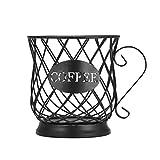 Whuooad Soporte para monodosis de café y portavasos, cesta organizadora para cápsulas de café, para el hogar, cafetería, hotel, color negro