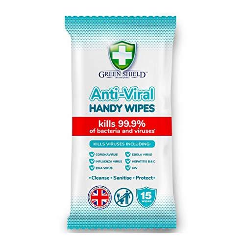Greenshield – Toallitas Desinfectantes Manos, Biodegradables, Antivirales y Antibacterianas, 15 toallitas
