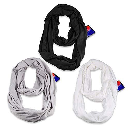 Infinity & Soft Scarf with Hidden Zipper Pocket Bundle Set | Winter Spring Summer Fall Autumn Lightweight Fashion Pattern Scarf, Travel Accessories for Women Girls Ladies(3 Pack)