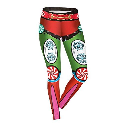 DSCX Femmes Leggings De Noël Bonbons Imprimer Slim Yoga Pantalon De Mode En Plein Air Stretch Rouge L