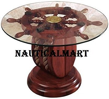 "24"" GLASS SHIP WHEEL DECORATIVE TABLE BY NAUTICALMART"