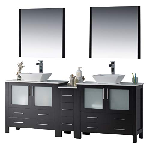"""Blossom Sydney 84"""" inches Double Vessel Sink Bathroom Vanity, Side Cabinet, Vessel Ceramic Sink with Mirror All Wood Espresso 001 84 02D 1616V"""
