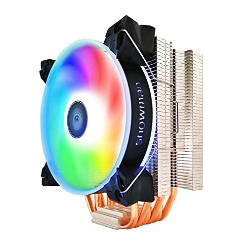 yueydengsun Enfriador de CPU silencioso, 6 tubos de calor CPU RGB PWM 4 pines para ventilador de refrigeración Intel LGA, recomendado hasta 180 W TDP
