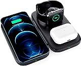 Chargeur sans fil pliable 3 en 1, support de charge rapide sans fil pour Airpods/Apple Watch, iPhone...
