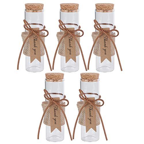 ABOOFAN 5 Unidades de Botellas de Vidrio Pequeñas con Tapas de Corcho Etiquetas de Etiqueta Botellas de Cristal de Deseo de Boda Frascos de Favor para Dulces Mensaje de Deseo de Joyería