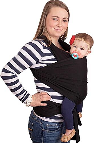 CuddleBug Fular Portabebés 9 en 1 – Canguro para Bebés Recién Nacidos y Niños hasta 16 Kg – Manos libres - Porta Bebés de Tela Suave y Elástico – Ideal como Regalo de Babyshower – Talla Única - (Negro)