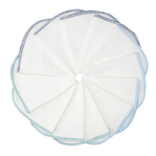 Molton Flanell Baby Waschlappen MIT SCHLAUFE- 12er Set, weiß-blau, 30x30cm I BESTE QUALITÄT - 100% Baumwolle, schadstoffgeprüft, ÖKO-TEX STANDARD 100, kochfest bei 95°C, robuste Naht, sehr weich
