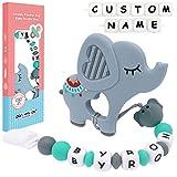 Panny & Mody Schnullerkette mit Namen Mädchen Schnuller Clip Silikon Perlen Elefant Beißring Zahnen BPA Frei für Babys(Grau)