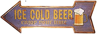 dingleiever-Ice Cold Beer Enjoy Your Beer Arrow Irregular tin Sign Shabby Chic bar Wall Decor