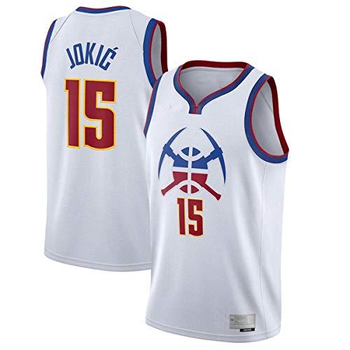 BVFDW Camisetas de baloncesto al aire libre Nikola Nuggets NO.15 Denver Jokic 2020/21 Swingman jugador Jersey blanco - edición ganada camisas para hombres