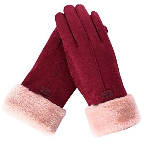 Guantes de Moda para Mujer Otoño Invierno Guantes cálidos Peludos Lindos Mitones de Dedo Completo Guantes de Deporte al Aire Libre para Mujer Pantalla - 4, Talla única