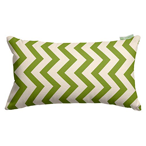"Majestic Home Goods Sage Chevron Indoor / Outdoor Small Throw Pillow 20"" L x 5"" W x 12"" H"