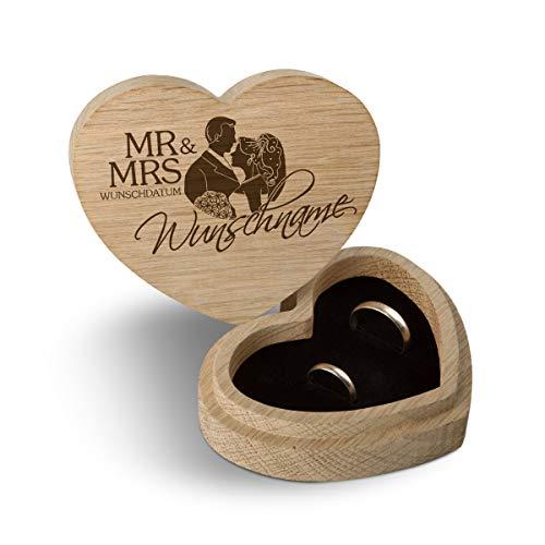 Hochzeit Ringbox Herz Ringkissen Ringschachtel individuell 10 x 8,5 cm Eichenholz - Mr & Mrs