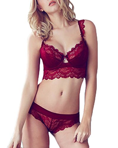 ZANZEA Damen Spitze V Push Up BH Bra Büstenhalter Unterwäsche Lingerie Panty Dessous Sets Red 75B