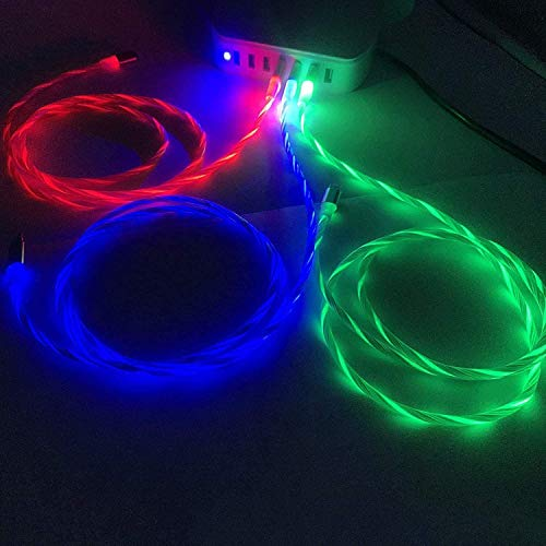 DeHasion Ugraded 3 Packungen 3A Schnellladekabel Typ C LED Ladekabel USB C fließendes LED Typ C Ladekabel für Galaxy S20/S10 Plus/Note 20 Ultra/Switch (blau/rosa/grün)