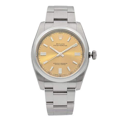 Rolex Oyster perpetuo Rojo UVA Dial Banda de Acero Inoxidable y Caso Mens Reloj de Cuarzo 116000
