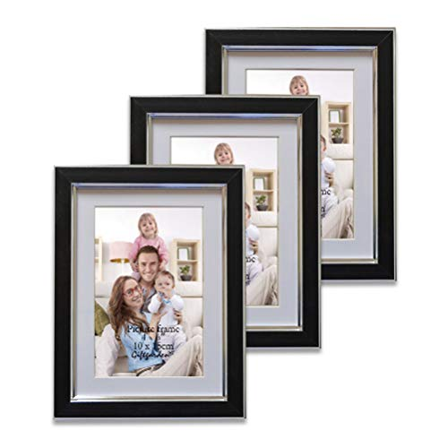 Giftgarden 10x15 Cornice per Foto in Legno da Parete con Passepartout Pacco da 3 Nero