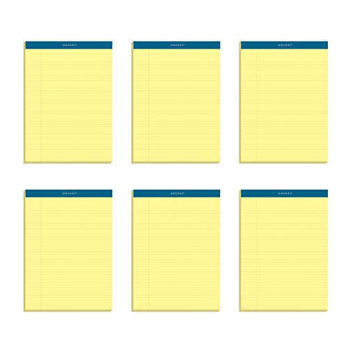 """TOPS Docket Gold Writing Pads, 8-1/2"""" x 11-3/4"""", Perforated, Canary Paper, Narrow Rule, 2X The Sheets of Standard Pads, 100 Sheets, 6 Pack (63376)"""
