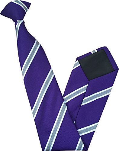 Great British Tie Club Cravate à Clipser - Violet avec Grises et Blanches Rayures
