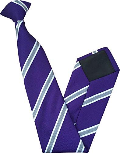 Great British Tie Club Cravate à Clipser - Violet avec Grises et Blanches Rayures
