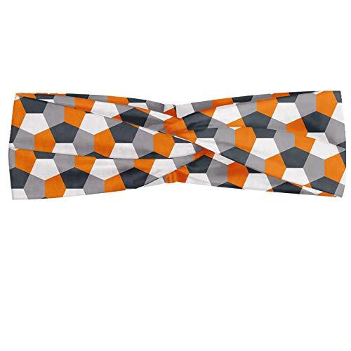 ABAKUHAUS Abstrakt Halstuch Bandana Kopftuch, Modern Style Origami inspiriert Mosaik-Fliesen mit Hexagonal Shapes, Elastisch und Angenehme alltags accessories, Charcoal Grau Orange