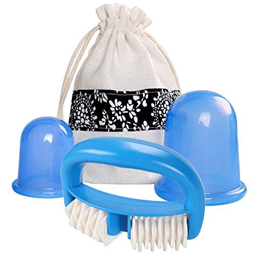 2pcs silicone massage sous vide ventouses avec 1pcs outil de massage au rouleau pour le corps cou beauté visage rajeunissement de la peau minceur