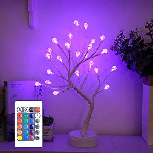 Lámpara de Mesa RGB Bonsai Tree, con Mando a Distancia, Luz de Hadas Artificial LED, Funciona con Pilas y USB, para Regalo, Hogar, Boda, Festival, Vacaciones (Color : Bubble ball)