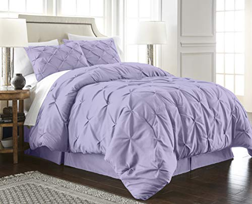 Chezmoi Collection Berlin 3-Piece Pintuck Pinch Pleat Bedding Comforter Set (Queen, Lavender)