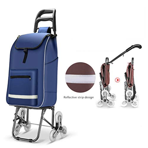 Jiahe Faltbarer Einkaufswagen-Leiter-Einkaufskorb 40L großer Kapazitäts-Laufkatzen-Anhänger Wasserdichter Einkaufstaschen-Laufkatzen-Wagen mit reflektierendem Streifen