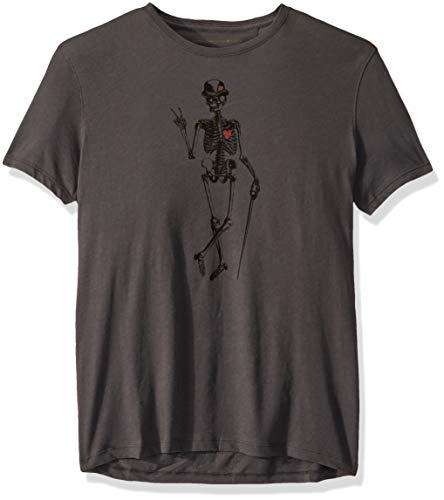 John Varvatos Star USA Men's Skeleton Peace Graphic TEE, Coal, XX-Large