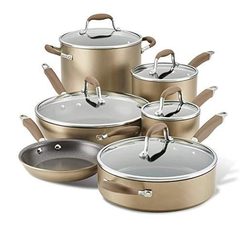 Anolon Advanced Home Hard-Anodized Aluminum 11-Piece Cookware Set (84642, Bronze)