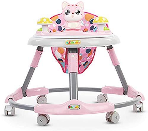 Liuqingyue4567 vouwen rollator, leren kinderen de auto, roll-over, baby 6-18 maanden achter elkaar de hand te drukken gaan om te leren Walker,roze