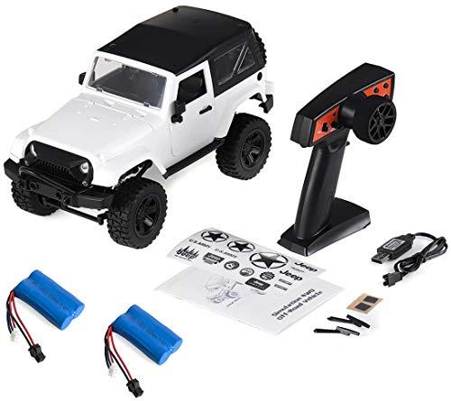 Coche Radio Control Crawler F1 Jeep Wrnagler SUV Escala 1/14 2.4G tracción 4x4 proporcional RTR Color Blanco + BATERÍA Extra