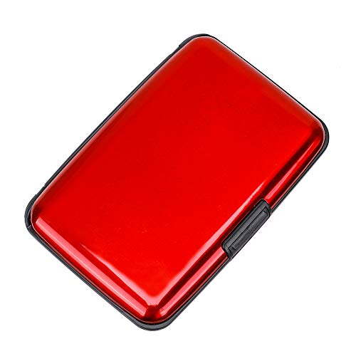 Elfish Mini RFID Aluminum Wallet Credit Cards Holder Business Card Case Metal ID Case for Men Women (Red)