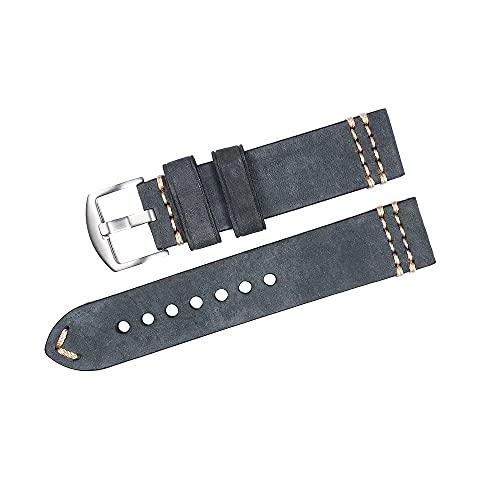 Reloj de bolsillo Correa de banda de reloj de cuero Vintage Hecho a mano Muñeca Reloj de muñeca Cinturón de reloj de cuero genuino con pasador de acero inoxidable Hebilla Reloj de reloj Correa 22mm 24
