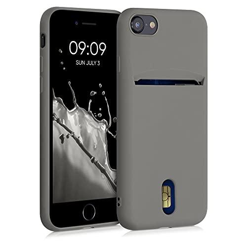 kwmobile Funda Compatible con Apple iPhone 7/8 / SE (2020) - Carcasa de Silicona con Tarjetero y Acabado de Goma - Gris Metalizado