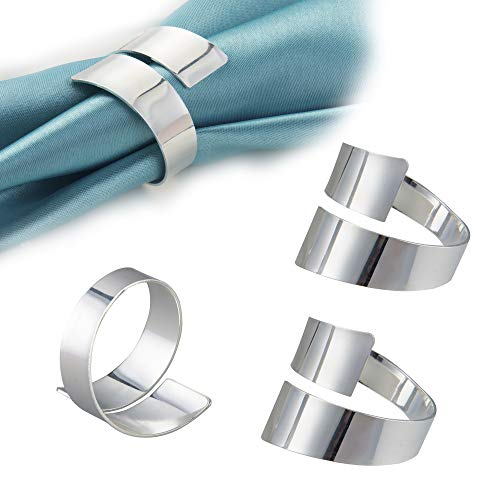 Feyarl Serviettenringe aus Metall, silberfarben, 8 Stück