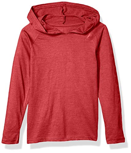 Reebok Boys' Little Long Sleeve Active T-Shirt, Jersey Pullover Red Heather, 5