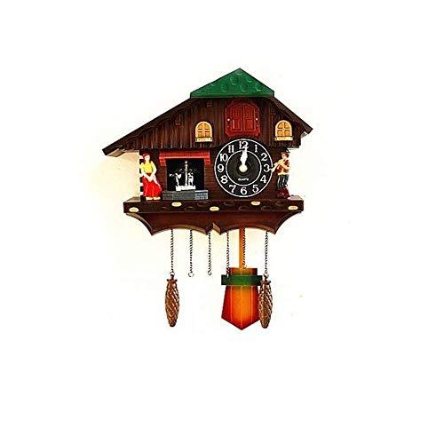 Europa Cuckoo Wall Clock Bird Zingen Muur Boerderij Decor Producten Gift Ideas Antieke muur Watches 44x36cm (Color : Brown)