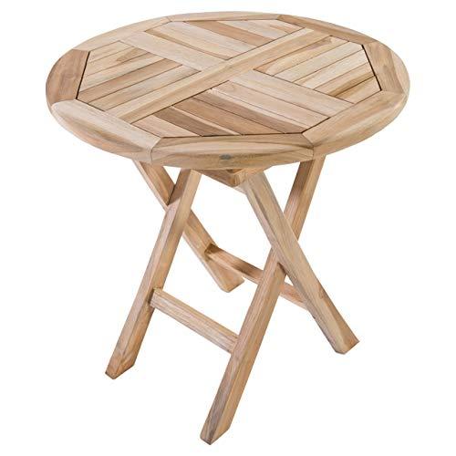 MACOShopde by MACO Möbel Beistelltisch Gartentisch aus Teak Holz 50 x 50 cm rund - Holztisch massiv