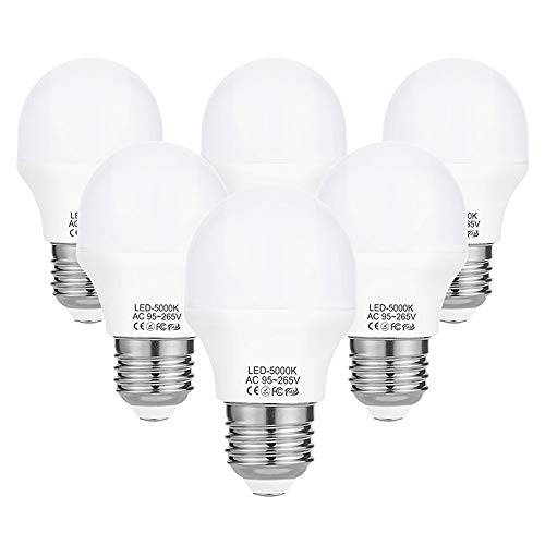 A15 LED Bulb Light 4 Watt (40w Equivalent),E26 Standard Base,5000K Daylight,400 Lumens,Frosted G45/A15 Bulb Shape,CRI>85+,Ceiling Fan Light Bulb,Home Appliance Bulb,No Dimmable (6 Pack)