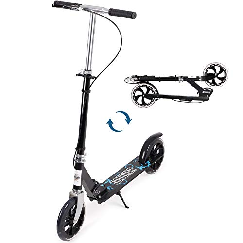 Joolihome Kick Scooter for Adults, Foldable and Portable Adult Teens City Scooter Push Scooter with Kickstand, Dual Brake System, 200mm Wheels & ABEC-7 Bearings for Boys Girls Adults Teens Ages 8+